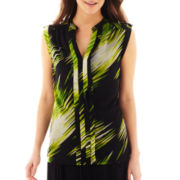 Worthington® Sleeveless Pleated-Front Y-Neck Top