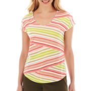 Liz Claiborne® Short-Sleeve V-Neck Striped Tee - Petite