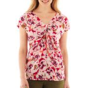 Liz Claiborne® Short-Sleeve Knot-Front Mesh Top - Petite