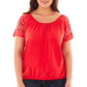 St. John's Bay® Short-Sleeve Beaded Peasant Top - Plus