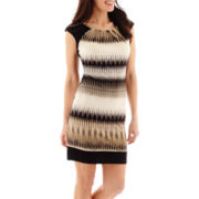 London Style Collection Cap-Sleeve Block Chevron Print Dress - Petite