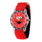 Sesame Street Boys Red And Silvertone Elmo Time Teacher Strap Watch W003143