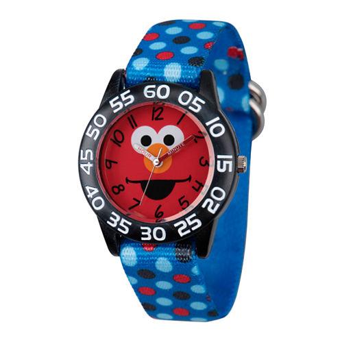 Sesame Street Boys Blue And Black Polka Dot Elmo Time Teacher Strap Watch W003146