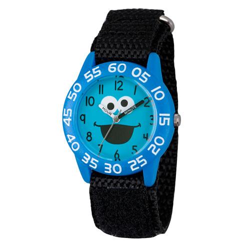 Sesame Street Boys Blue And Black Cookie Monster Time Teacher Strap Watch W003148
