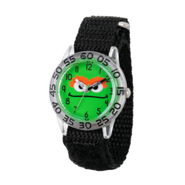 jcpenney.com | Sesame Street Boys Black And Green Oscar The Grouch Time Teacher Strap Watch W003150