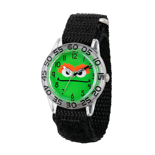 Sesame Street Boys Black And Green Oscar The Grouch Time Teacher Strap Watch W003150