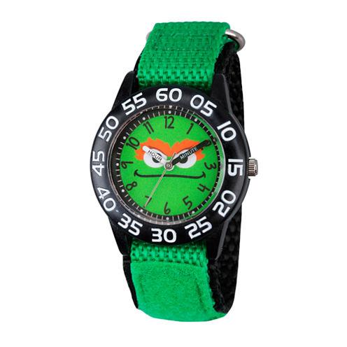 Sesame Street Boys Green Oscar The Grouch Time Teacher Strap Watch W003151