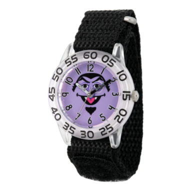jcpenney.com | Sesame Street Boys Black And Silver Tone Count Von Count Time Teacher Strap Watch W003161