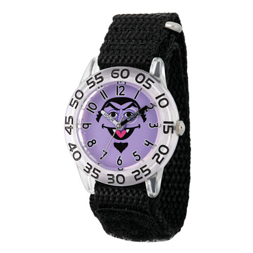 Sesame Street Boys Black And Silver Tone Count Von Count Time Teacher Strap Watch W003161