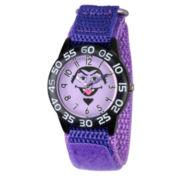 Sesame Street Boys Purple And Black Count Von Count Time Teacher Strap Watch W003162