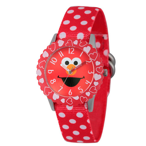 Sesame Street Red Polka Dot Elmo Time Teacher Strap Watch W003163
