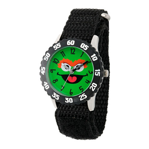 Sesame Street Black Oscar The Grouch Time Teacher Strap Watch W003167
