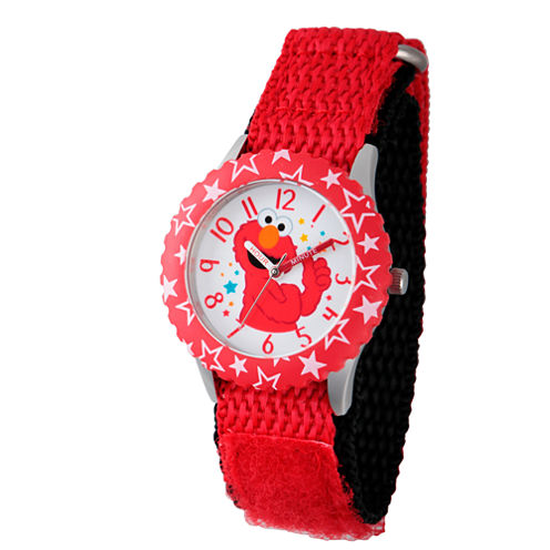 Sesame Street Red Elmo Hearts Time Teacher Strap Watch W003170