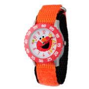 Sesame Street Orange And White Elmo Time Teacher Strap Watch  W003174