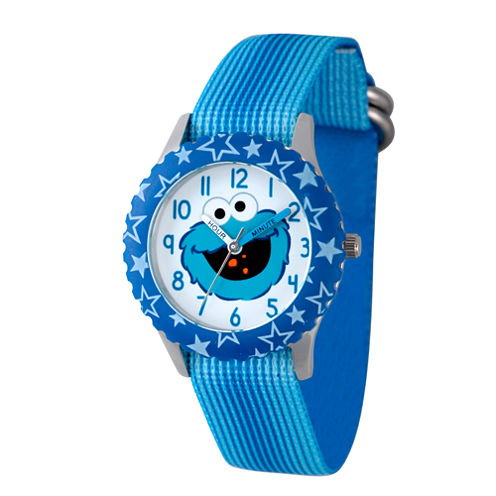 Sesame Street Boys Blue Stars Cookie Monster Time Teacher Strap Watch W003178