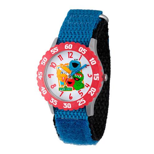 Sesame Street Boys Blue And Red Friends Time Teacher Strap Watch W003181