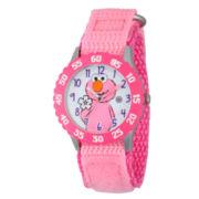 Sesame Street Girls Pink And White Elmo Flower Time Teacher Strap Watch W003183