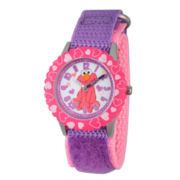 Sesame Street Purple And Pink Elmo Hearts Time Teacher Strap Watch W003188
