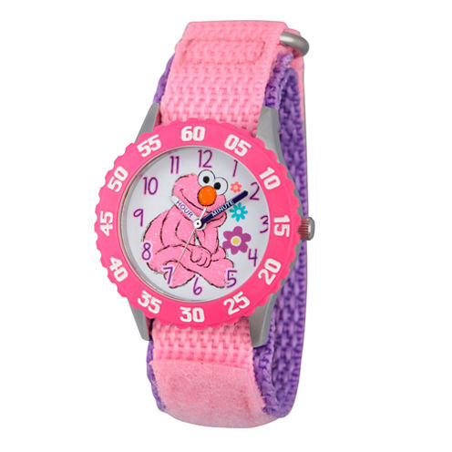 Sesame Street Girls Pink And White Elmo Time Teacher Strap Watch W003189
