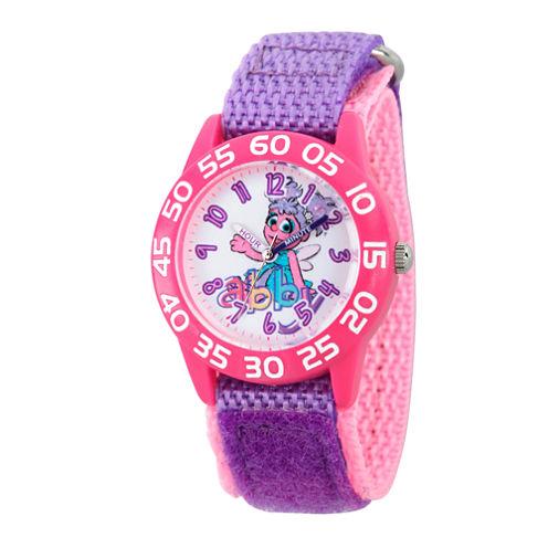 Sesame Street Girls Purple And White Abby Cadabby Time Teacher Strap Watch W003195