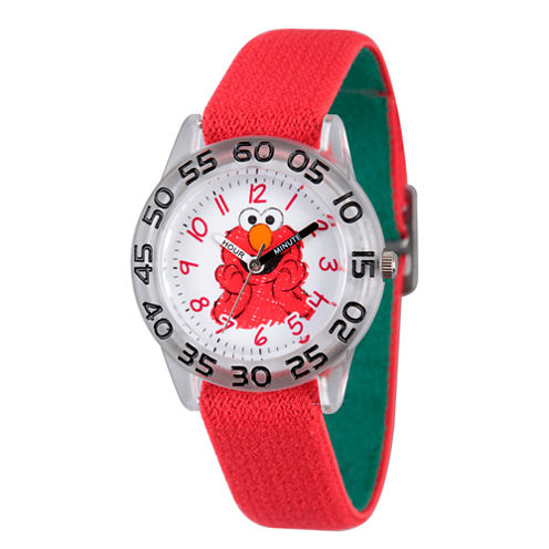 Sesame Street Boys Red And White Elmo Time Teacher Strap Watch W003197