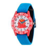 Sesame Street Boys Blue And White Elmo Time Teacher Strap Watch W003198