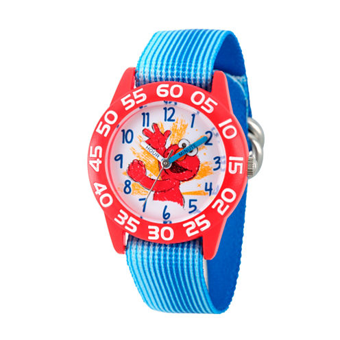 Sesame Street Blue And Red Elmo Time Teacher Strap Watch W003200
