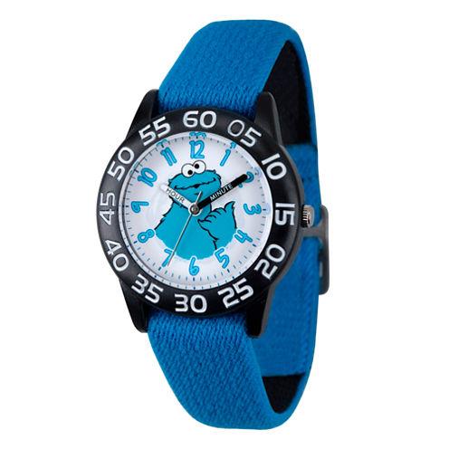Sesame Street Boys Blue And Black Cookie Monster Time Teacher Strap Watch W003203