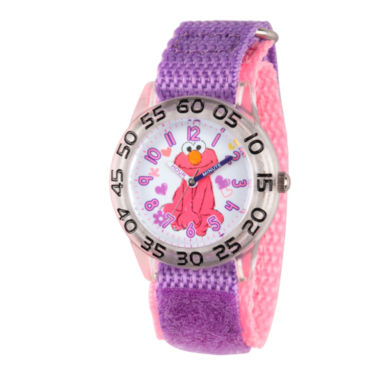 jcpenney.com | Sesame Street Girls Purple Elmo Time Teacher Strap Watch W003209