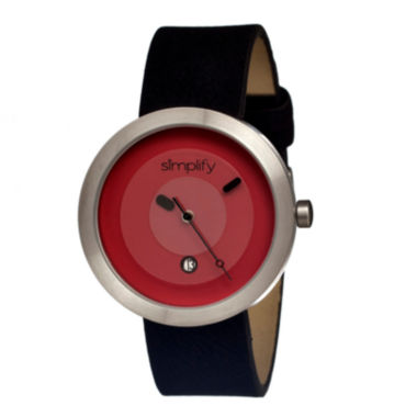 jcpenney.com | Simplify Unisex The 300 Black Leather-Band Watch With Date Sim0305