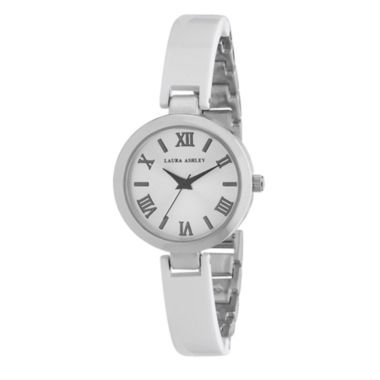 jcpenney.com | Laura Ashley Womens White/Silver Resin Link Watch La31002Wt