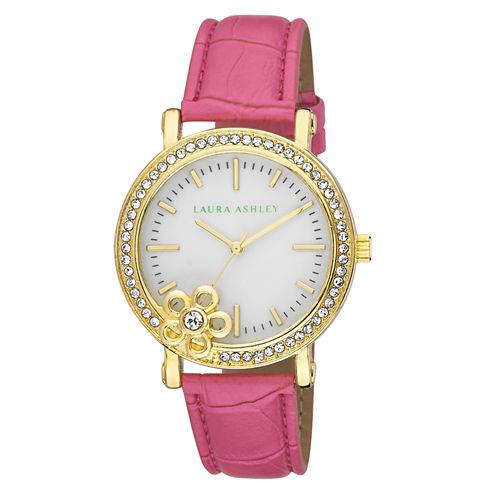 Laura Ashley Ladies Pink Floral Stone Bezel Watch La31013Pk