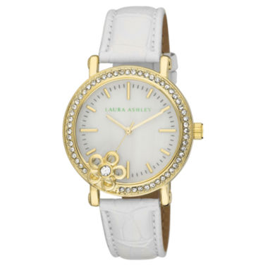 jcpenney.com | Laura Ashley Ladies White/Gold Floral Stone Bezel Watch La31013Yg