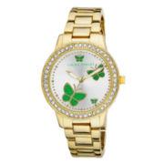 Laura Ashley Ladies Gold Band Green Butterfly Stone Bezel Watch La31015Yg