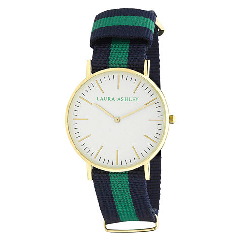 Laura Ashley Ladies Blue Green And Blue Knitted Colored Band With Gold Ultra-Thin Case Watch La31016Gn