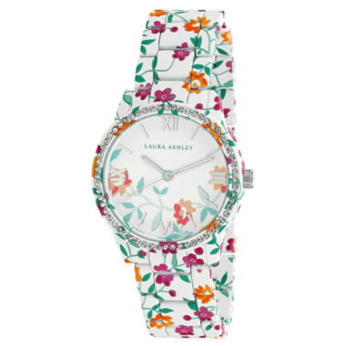 jcpenney.com | Laura Ashley Ainsley Ditsy Pattern Printed Watch With Round Silver-Tone Dial And Crystals Around Bezel La31018J