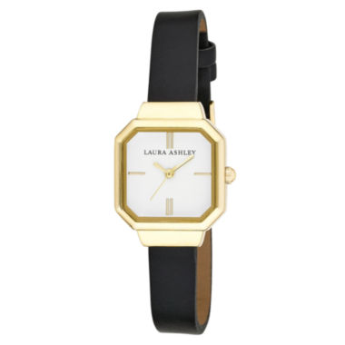 jcpenney.com | Laura Ashley Ladies Black Petite Case With Matching Colored Sunray Dial Watch La31004Bk