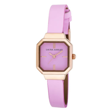 jcpenney.com | Laura Ashley Womens Pink Petite Case With Matching Colored Sunray Dial Watch La31004Pk