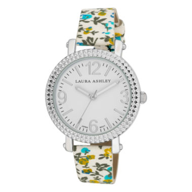 jcpenney.com | Laura Ashley Ladies Blue Floral Band Fluted Bezel Watch La31005Bl