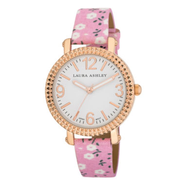 jcpenney.com | Laura Ashley Ladies Pink Floral Band Fluted Bezel Watch La31005Pk