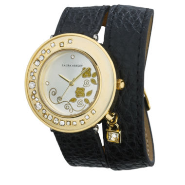jcpenney.com | Laura Ashley Ladies Black Stone Accent Colored Wrap Watch La31008Bk