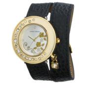 Laura Ashley Ladies Black Stone Accent Colored Wrap Watch La31008Bk
