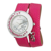 Laura Ashley Ladies Pink Stone Accent Colored Wrap Watch La31008Pk