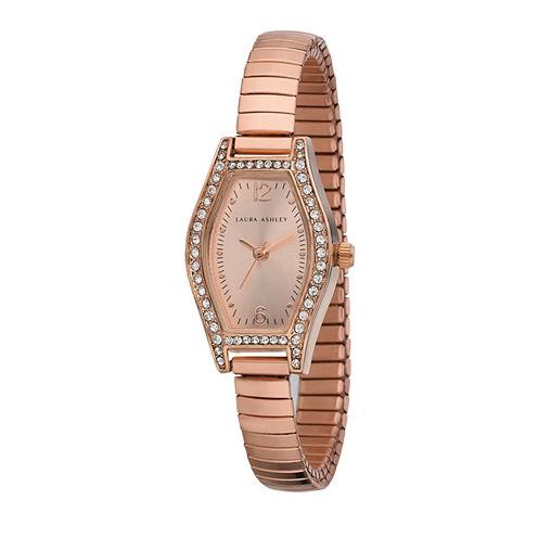 Laura Ashley Womens Rose Gold Expandable Bracelet Watch La31010Rg