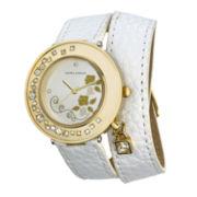 Laura Ashley Ladies White Stone Accent Colored Wrap Watch La31008Wt