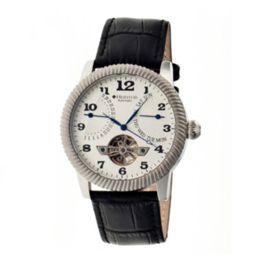 jcpenney.com | Heritor Automatic Piccard Mens Semi-Skeleton Leather Date-Silver Tone Watch