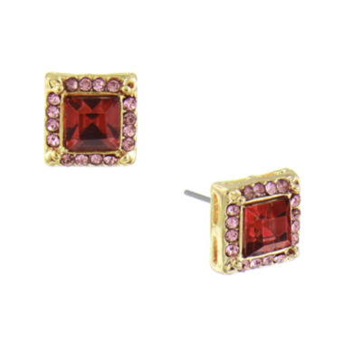 jcpenney.com | 1928® Jewelry Gold-Tone Pink Crystal Square Button Earrings