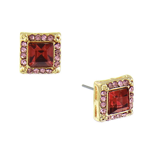 1928® Jewelry Gold-Tone Pink Crystal Square Button Earrings