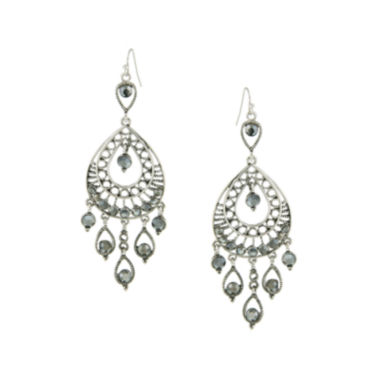jcpenney.com | 1928® Jewelry Silver-Tone Gray Filigree Statement Teardrop Earrings
