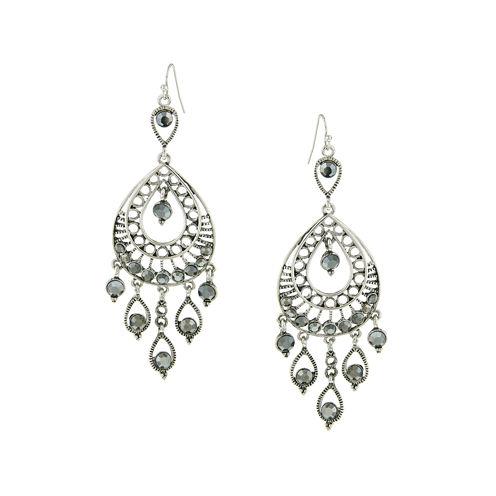 1928® Jewelry Silver-Tone Gray Filigree Statement Teardrop Earrings